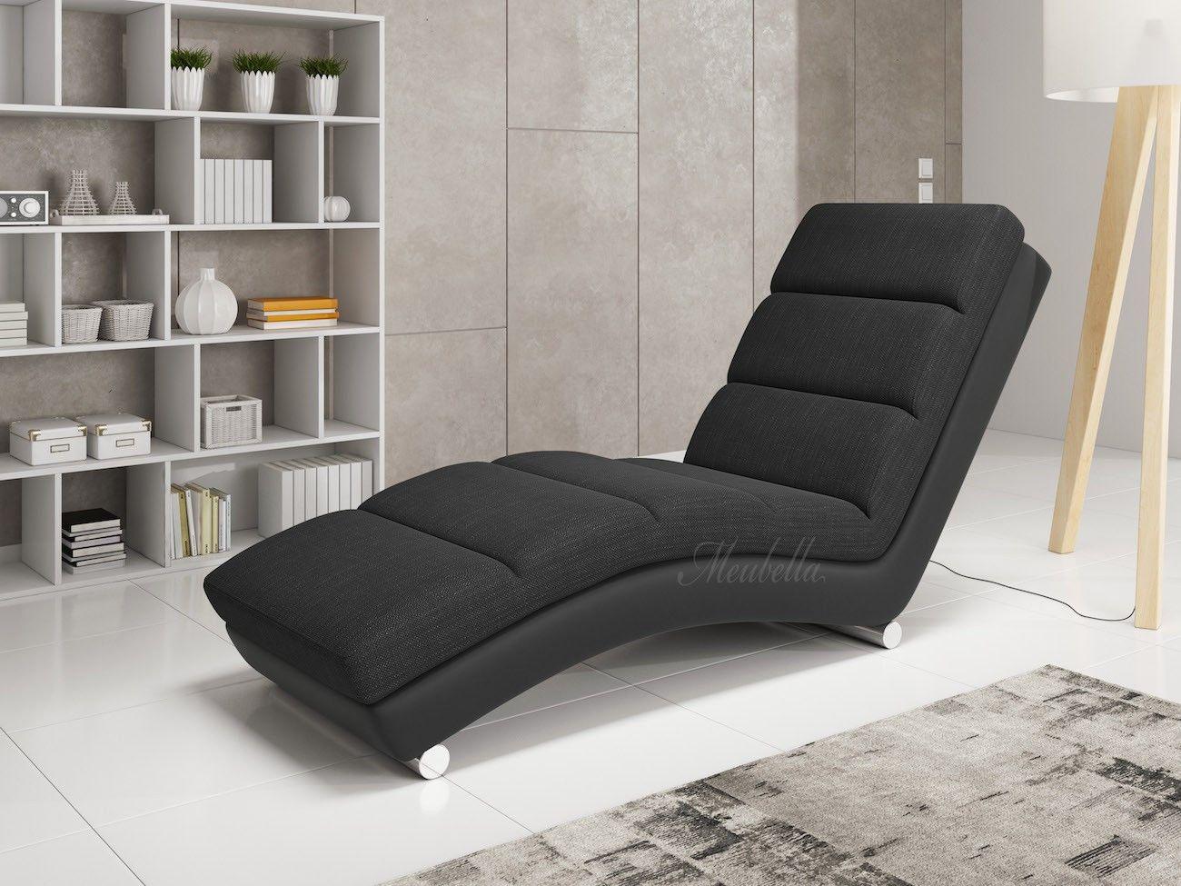 Chaise Longue Leer : Chaise longue ibiza zwart leer stof chaise longue