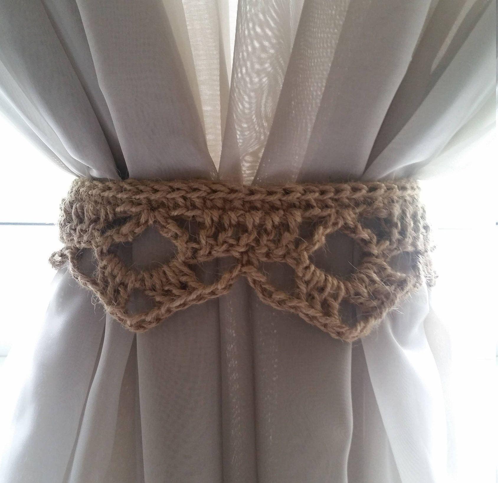 Crochet Curtain Ties Rustic Curtain Tie Back Natural Jute Curtain Tie Back Home Decor Border Rustic Window Decor Window Decor Rustic Window