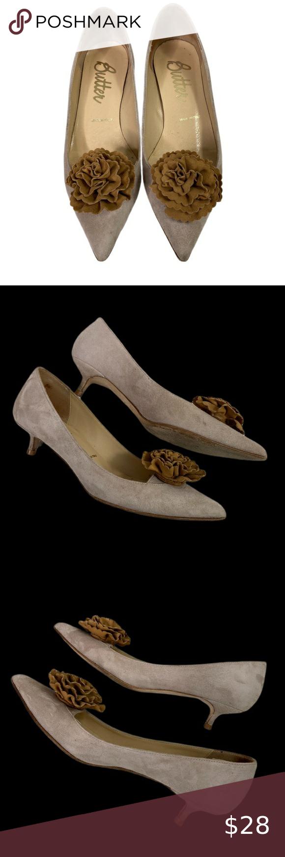 Butter Pointed Flower Toe Kitten Heels Sz 5 In 2020 Kitten Heels Shoes Women Heels Heels