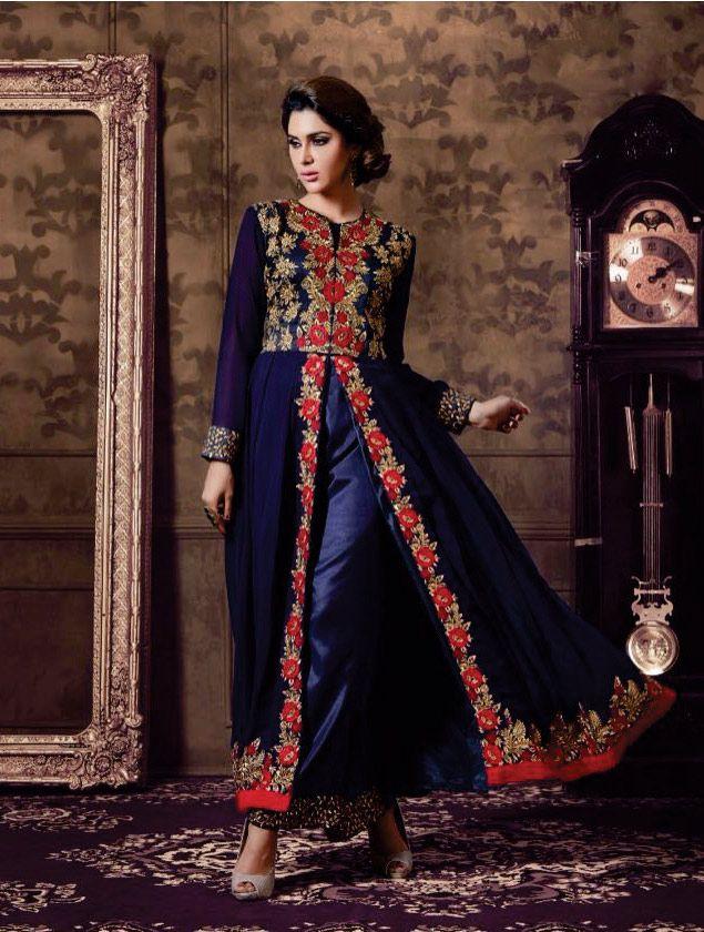 10099b8252 Semi #Stitched #Blue Georgette #Achkan #Style #Salwar #Kameez #nikvik #usa  #designer #australia #canada #freeshipping #suits #pakistani