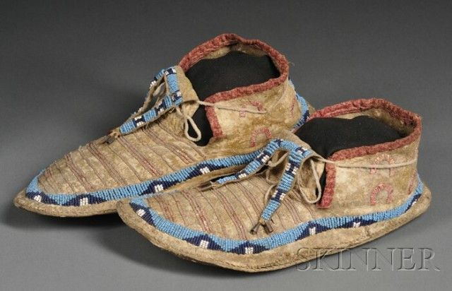 Central Plains Beaded and Quilled Hide Moccasins