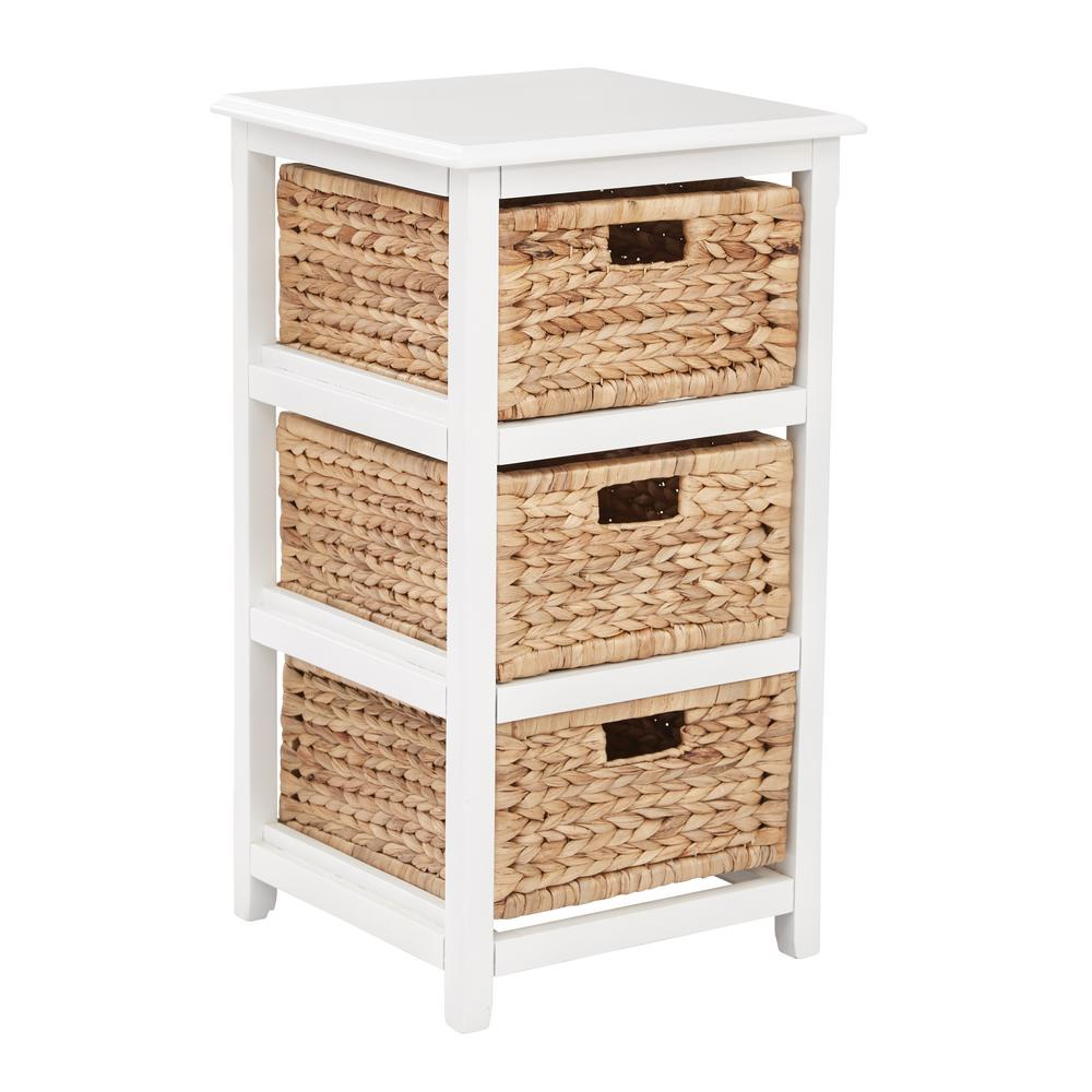 Seabrook White 3 Tier Storage Unit With Natural Baskets In 2019