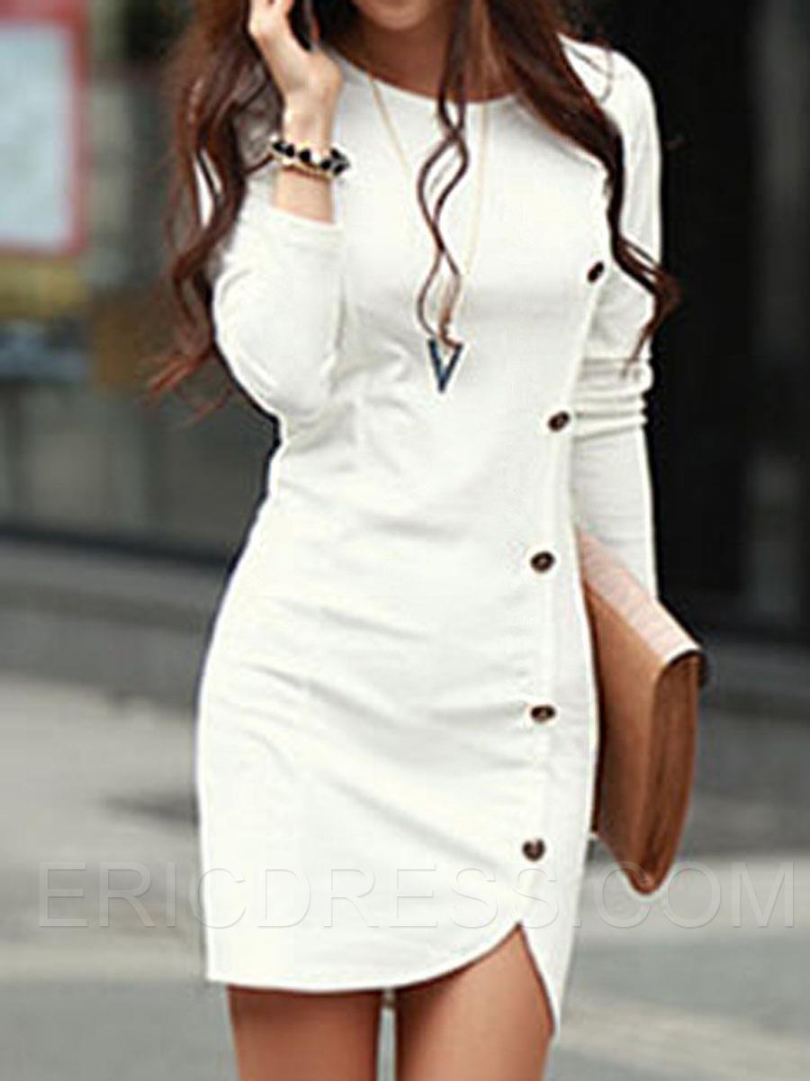 652bb1f4df2 Plain Long Sleeve Button Bodycon Dress 1 Vestidos Bellos