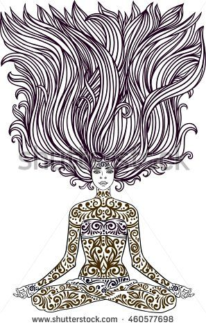 woman sitting in meditation yoga lotus pose with tattoo