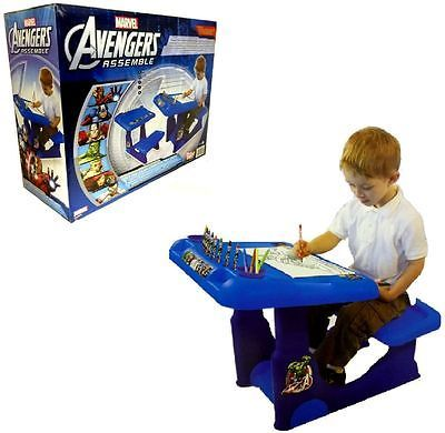 MARVEL AVENGERS SIT & PLAY KIDS CREATIVE ART COLORING DESK STOOL ...