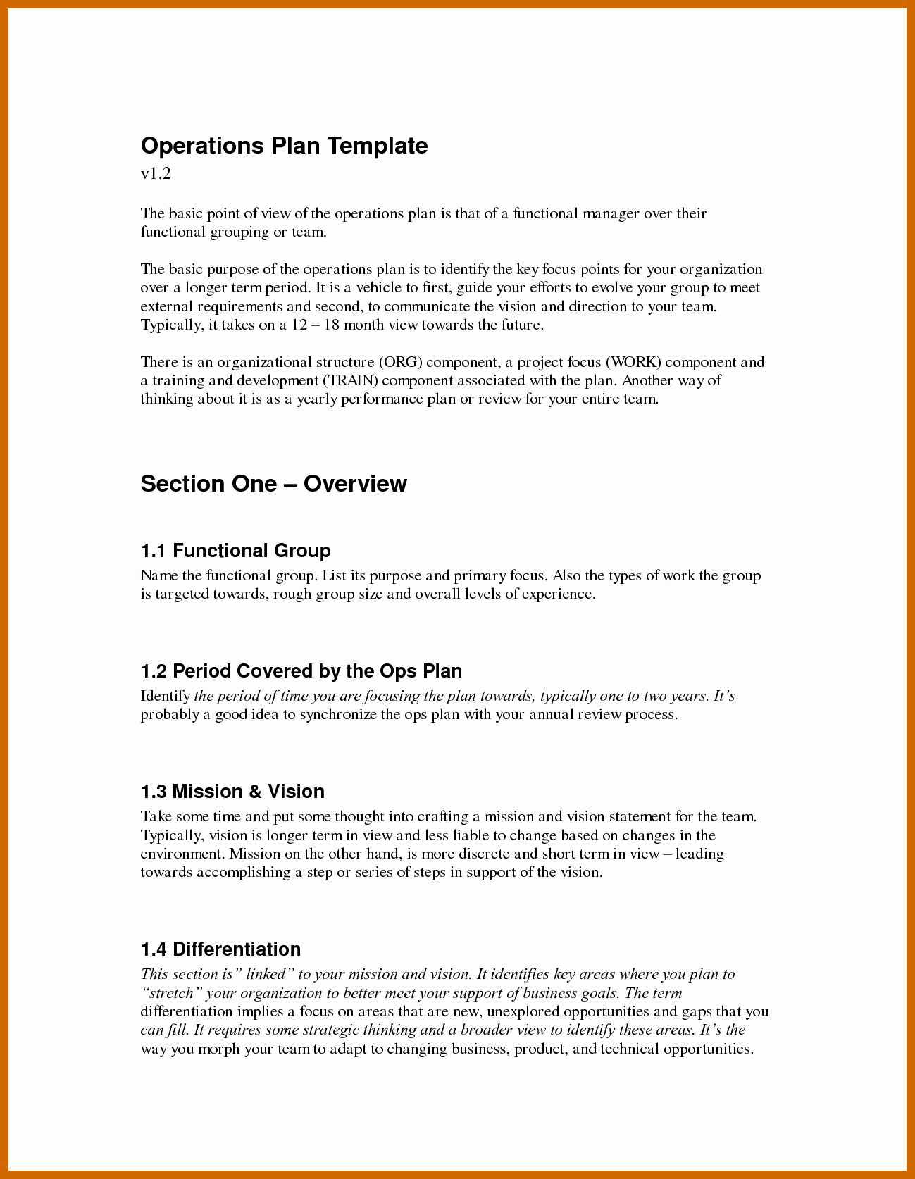 Business Operational Plan Template Awesome 9 10 Operations