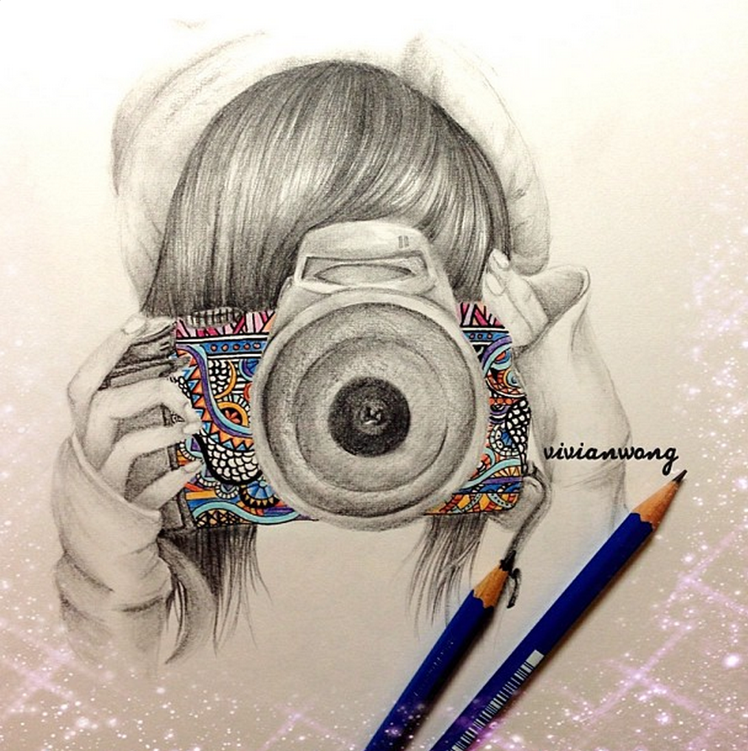 Camera girl bw sketch find me at http www