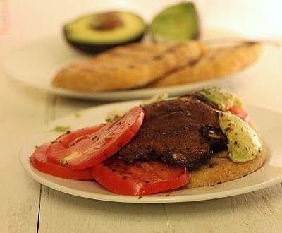 baked portabello mushrooms, avocado, and tomato sandwich