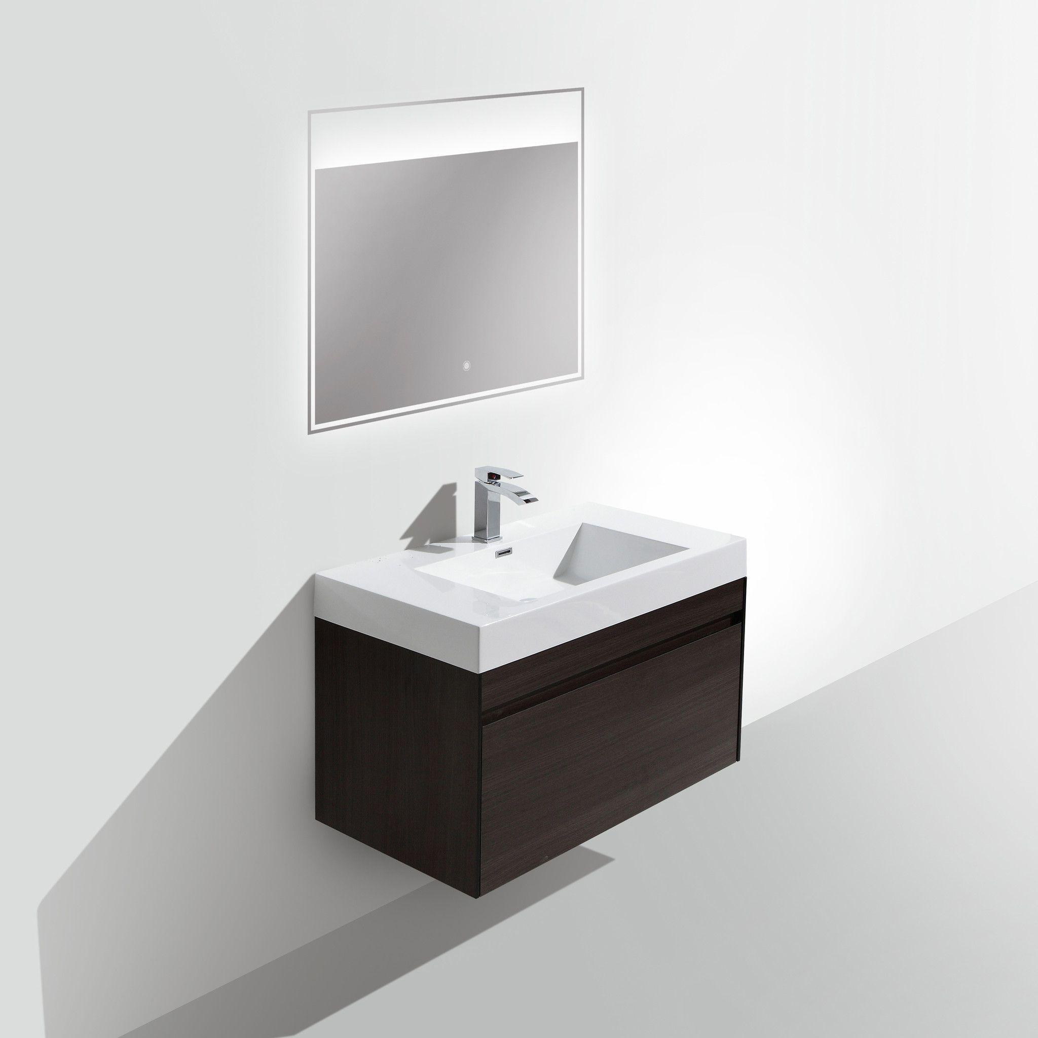 BAI 0842 Vanity Set of 3 - Cabinet, Basin, LED Mirror / Gray Oak ...