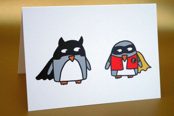 Superhero Card Funny Penguins Birthday Card For Him Boyfriend