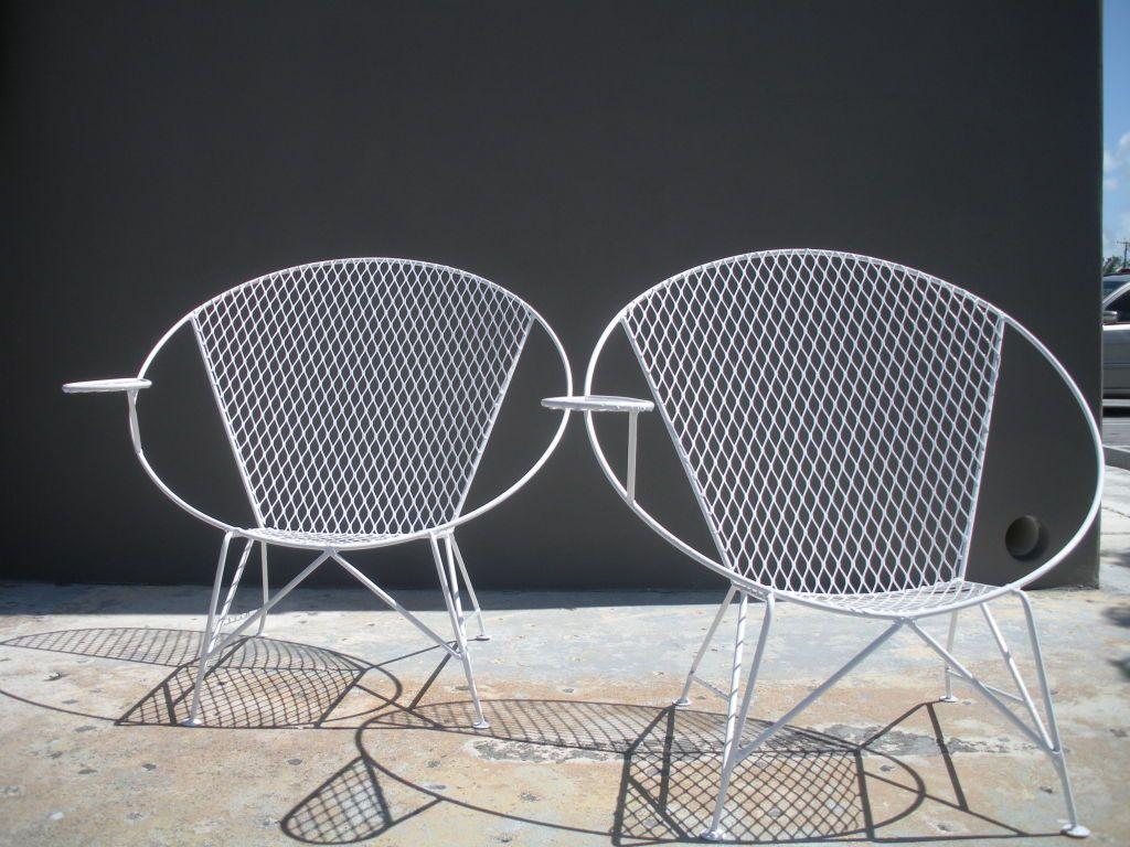 Pair Of Mid Century Circular Garden Chairs Manner Salterini