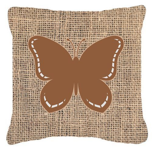 Butterfly Burlap and Brown Canvas Fabric Decorative Pillow BB1035