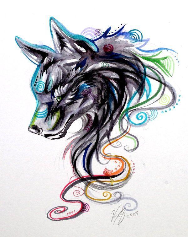 Watercolor Wolf Design Personalization Custom Gym Bag