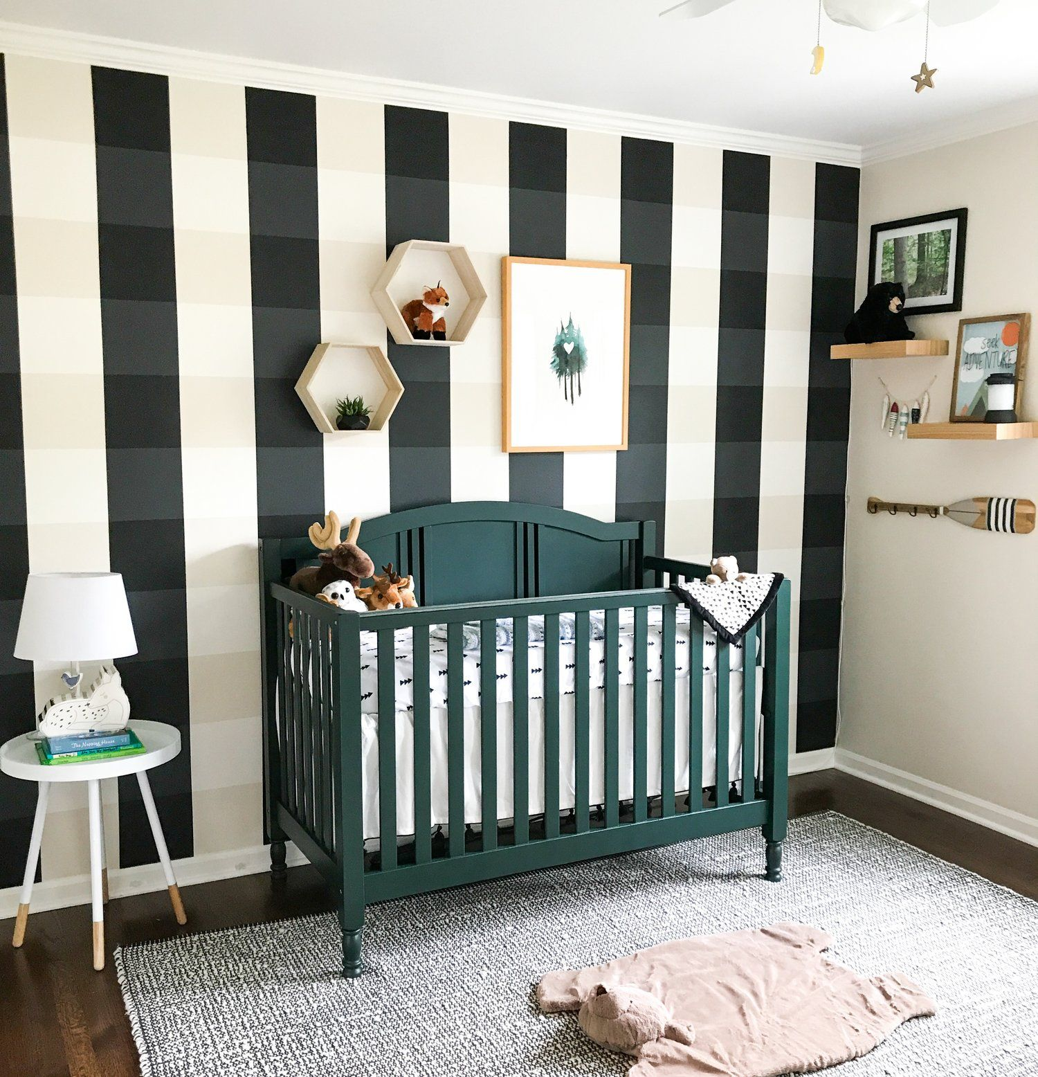 Woodland Creatures Nursery Decor For Baby Boy Or Girl Outdoor Gender Neutral Buffalo Plaid Painted Wall Simple