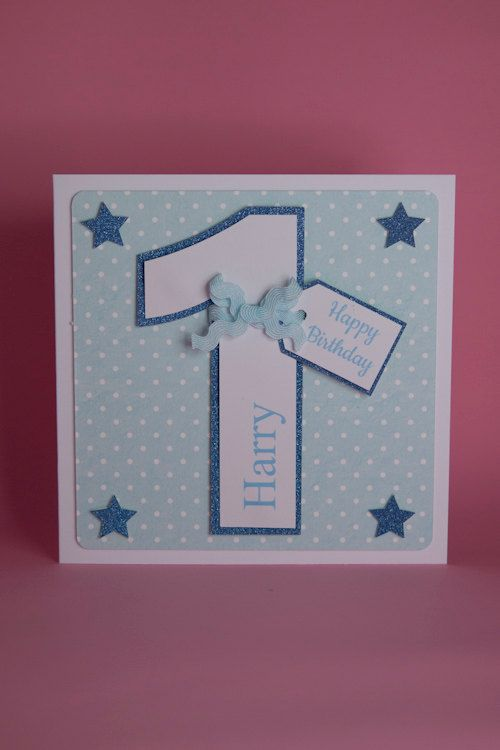 Personalised Handmade Number Birthday Card Blue Boys 1st Birthday Card Perosnalised 1st Birthday Card Card Making Birthday First Birthday Cards Birthday Cards For Boys