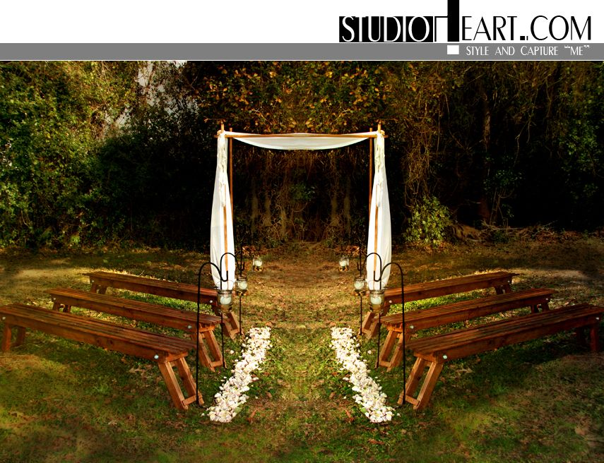 small intimate weddings southern california%0A Studio Heart  Intimate Wedding Ceremony Setting with wood benches and huppa