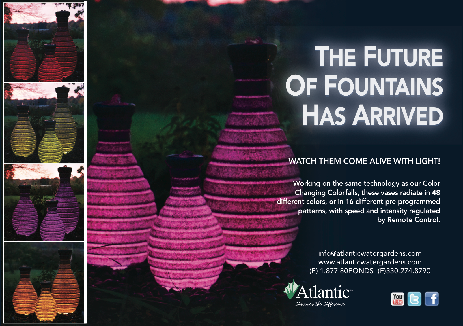 Color Changing Vase Fountains From Atlantic Water Gardens.