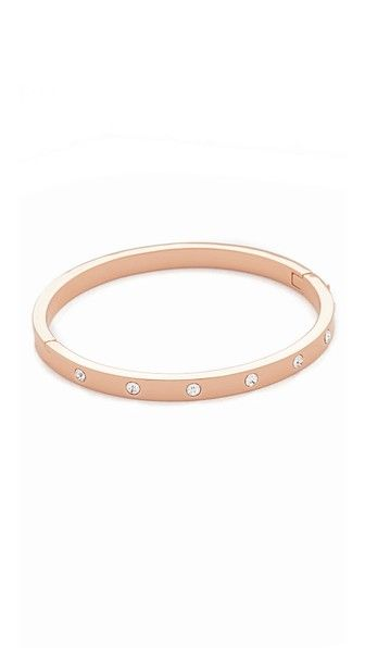 ClearRose Gold Kate Spade New York Set in Stone Hinged Bangle