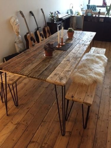 Awesome Reclaimed Wood Dining Table And 2 Benches Hairpin Legs Free Ibusinesslaw Wood Chair Design Ideas Ibusinesslaworg