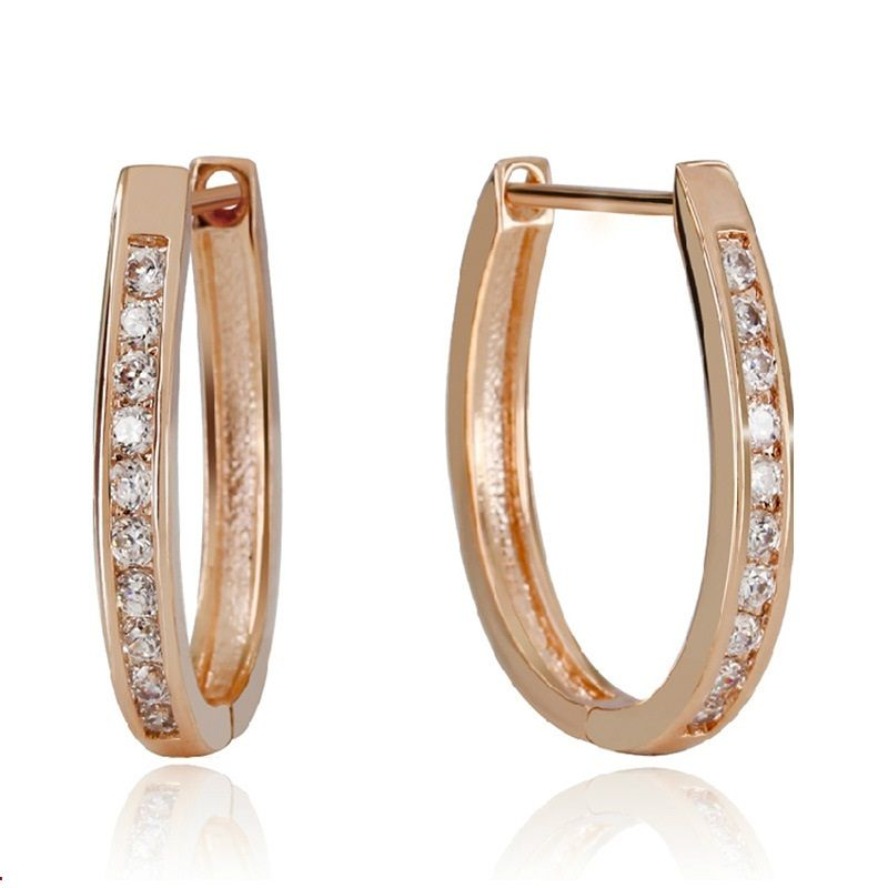 2017 High Quality women Jewelry Rose Gold color Rhinestone Inlay ...