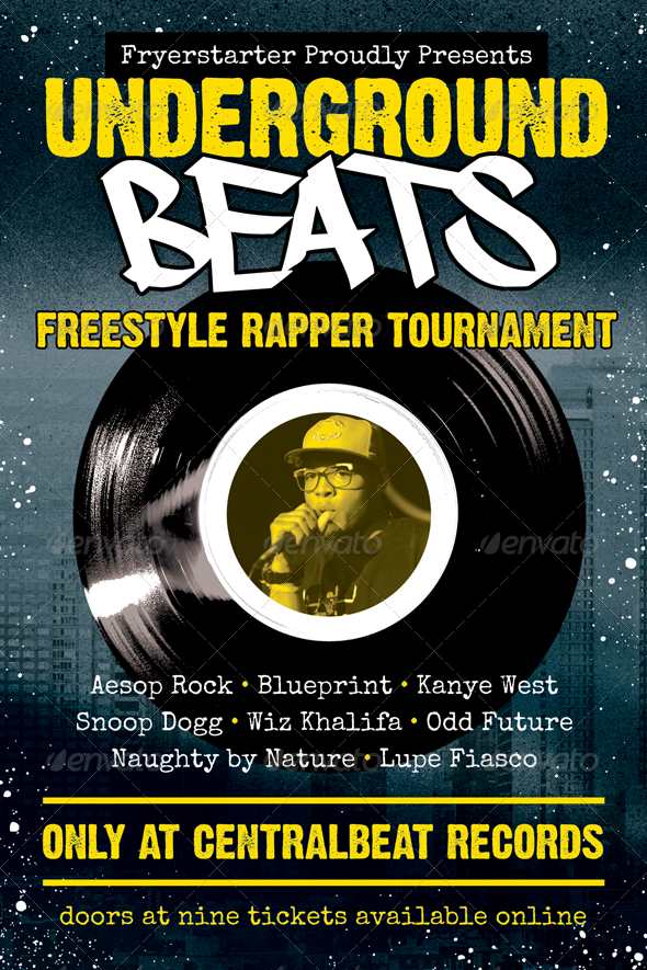 Underground Beats HipHop Flyer Template by furnace Underground – Hip Hop Flyer Template