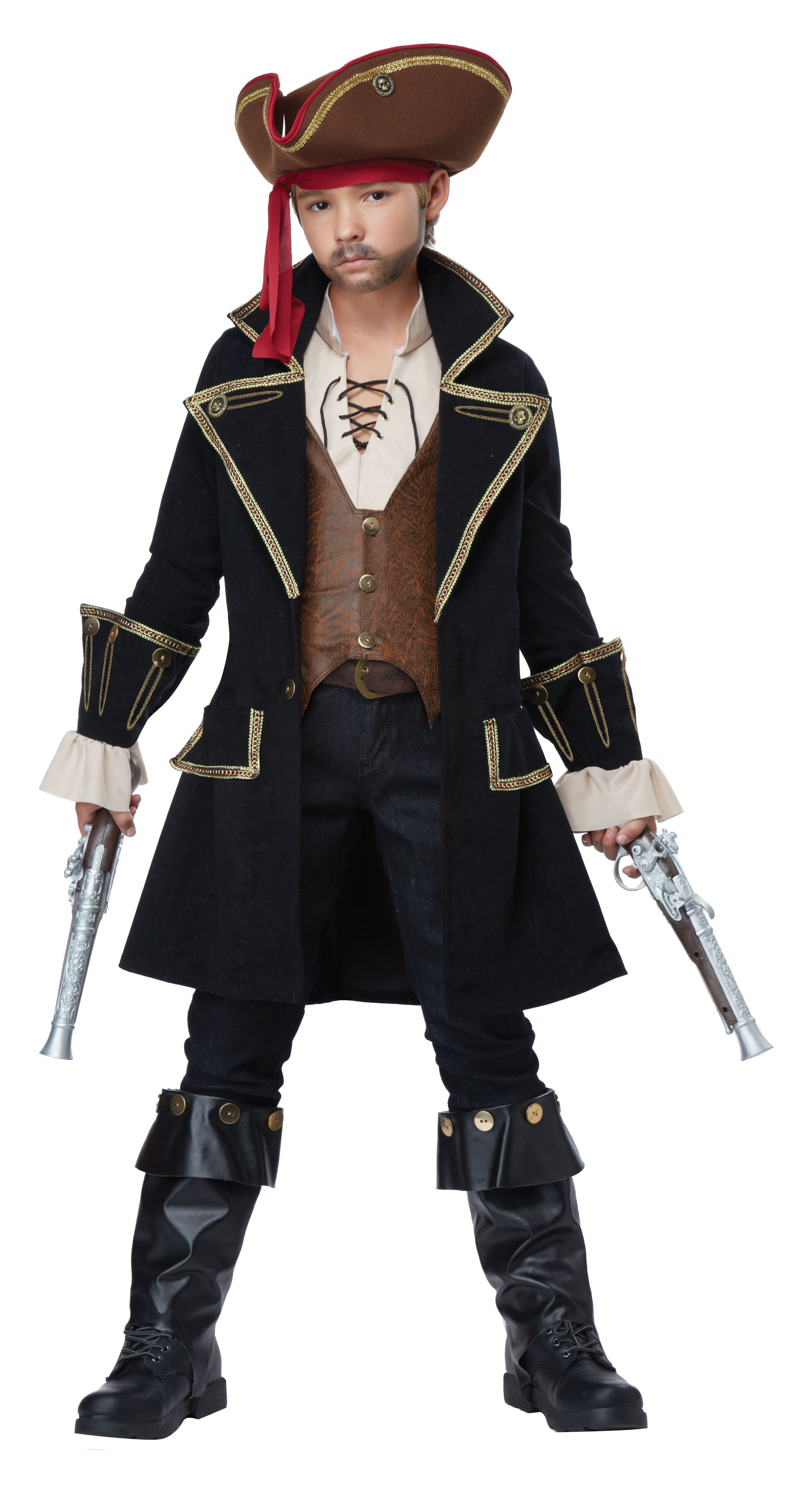Deluxe Pirate Captain Hook Caribbean Costume Child Kids Boys Fancy Dress Costume