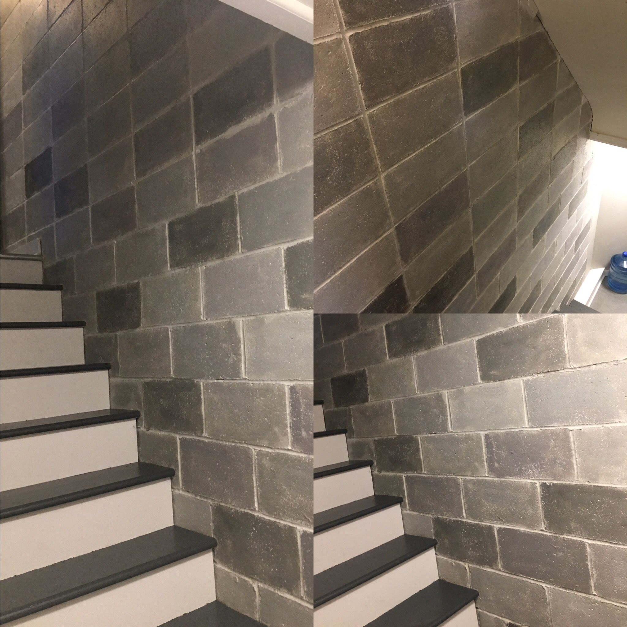 Painted Cinderblock Wall Cinder Block Walls Concrete Block Walls Painting Basement Walls