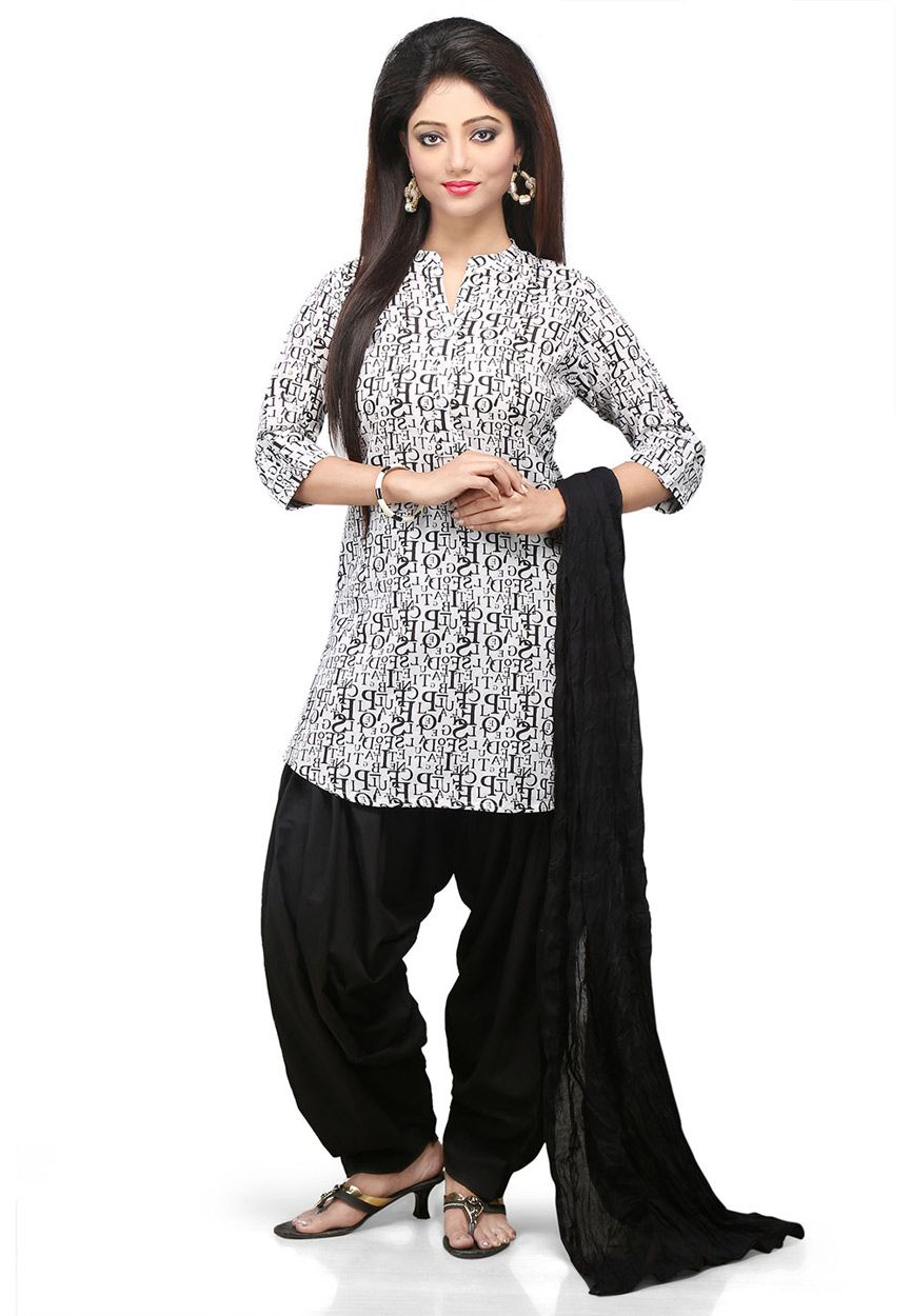 0ea295d340 Buy White and Black Cotton Readymade Kameez with Patiala online, work:  Printed, color