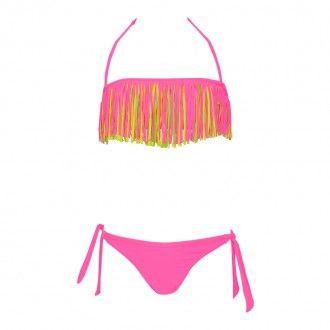 maillot de bain enfant franges fluo multicolore rose. Black Bedroom Furniture Sets. Home Design Ideas