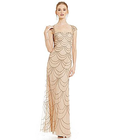Adrianna Papell Cap Sleeve Beaded Gown   Adrianna papell and Dillards