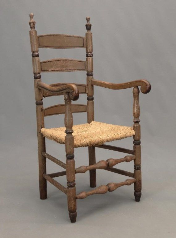 18th C Bergen County New Jersey Ladderback Armchair In Old Paint