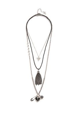Me want!! Black, Silver and Hematite-Tone Layered Necklace Set | GUESS.ca