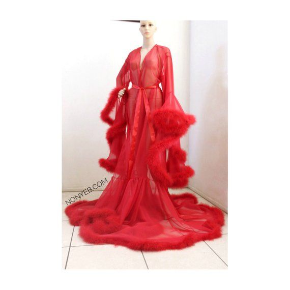 33d467d32d Luxury Sheer Fur Robe Lingerie. Feather trim robe with satin ties.  Cherry  Red  High quality lingeri