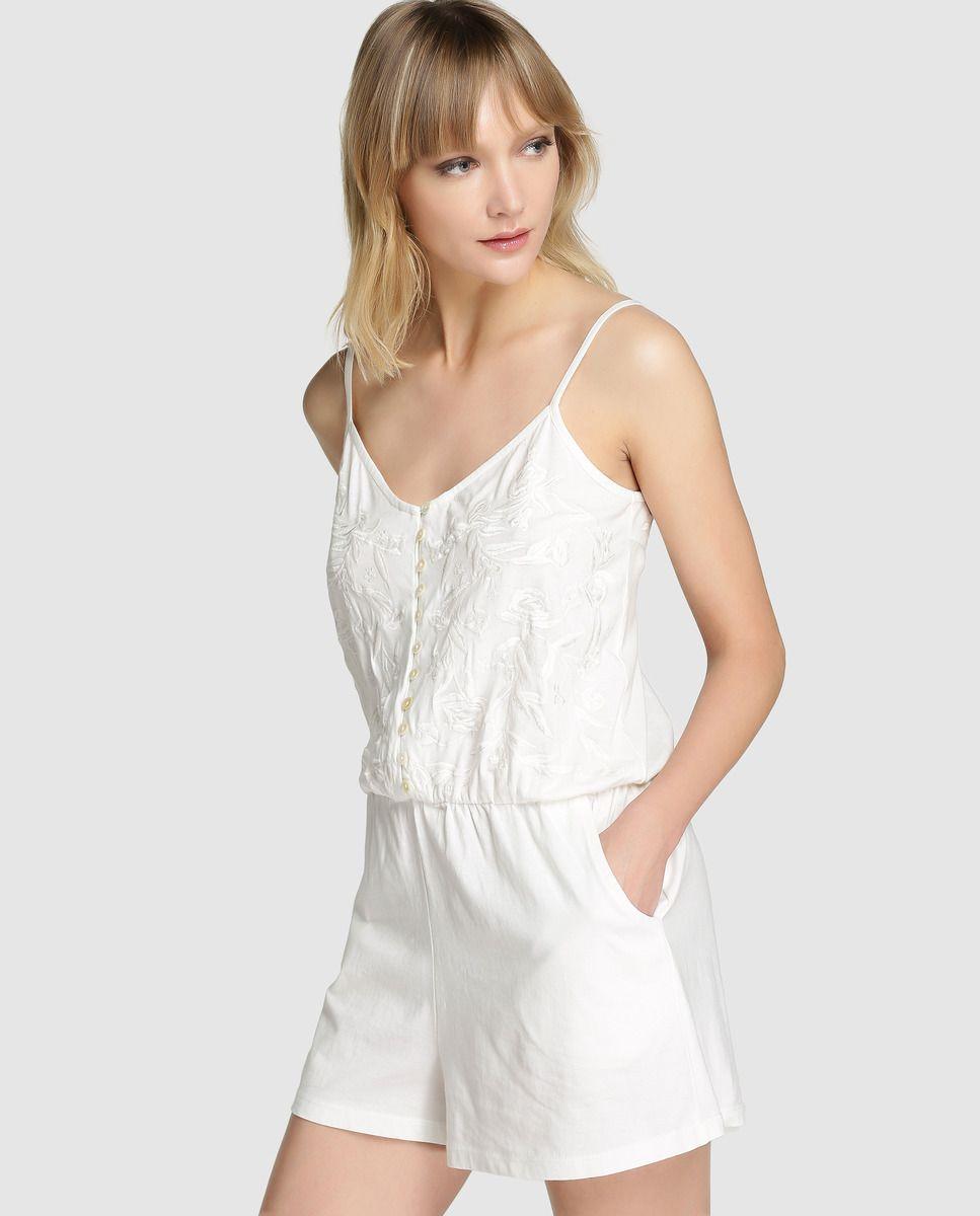 35bf12aa Pijama tipo mono de mujer ÉNFASIS corto - Pijama tipo mono en color blanco,  de tirantes con escote redondo. Lleva bordado floral a tono, elástico en la  ...
