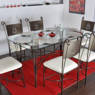 Table Rectangulaire En Fer Forg  Et Verre   150X95 Cm CAPPUCCINO
