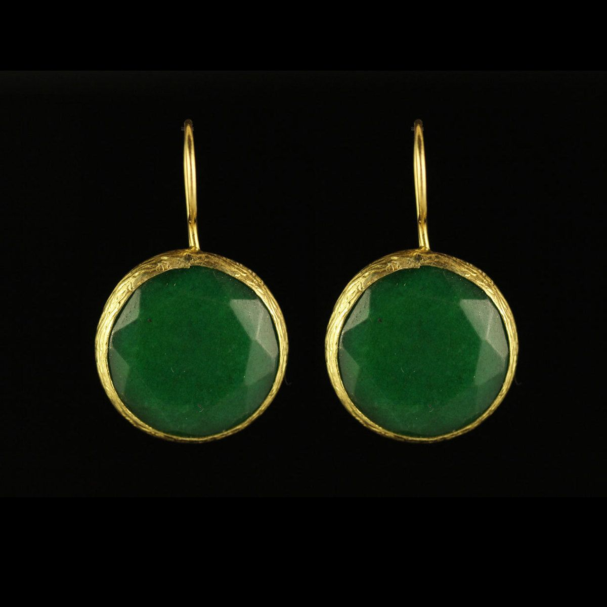 Simple Circle Earrings Green