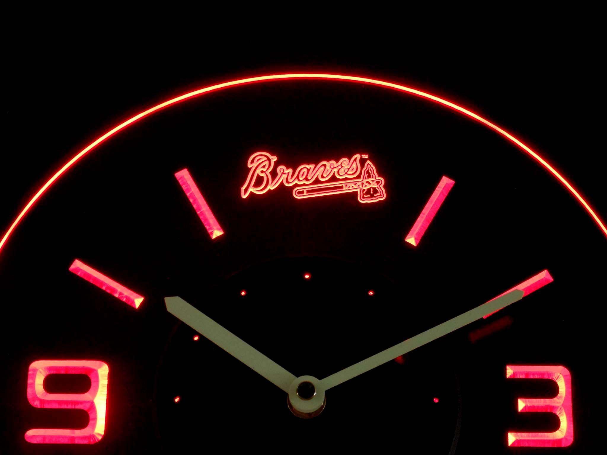 Atlanta Braves Modern Led Neon Wall Clock Neon Clock Wall Clock Led Wall Clock