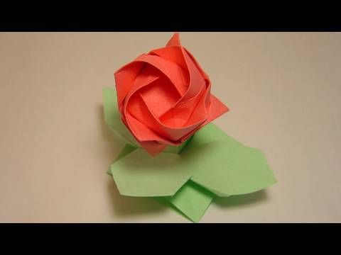 ▶ Origami leaves and support - Kawasaki Rose - YouTube