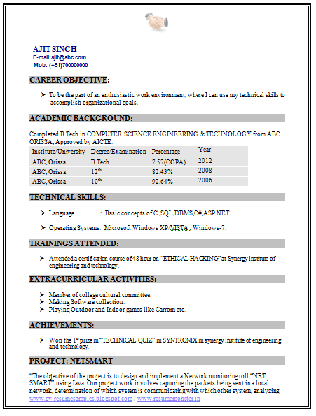 Professional Curriculum Vitae Resume Template For All Job Seekers Sample Template Of A Fresher B Computer Science Engineering Resume Curriculum Vitae Resume