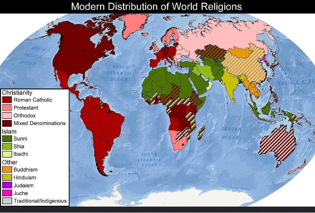 Christianity world map debunking christianity world christianity world map debunking christianity world distribution of religion and science gumiabroncs Image collections