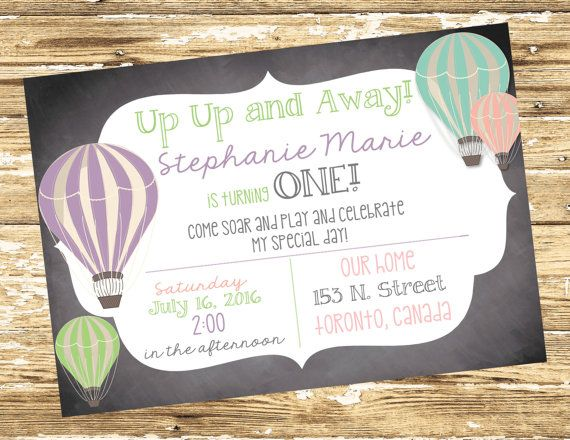 Hot Air Balloon Birthday Invite Up Up And Away Invite