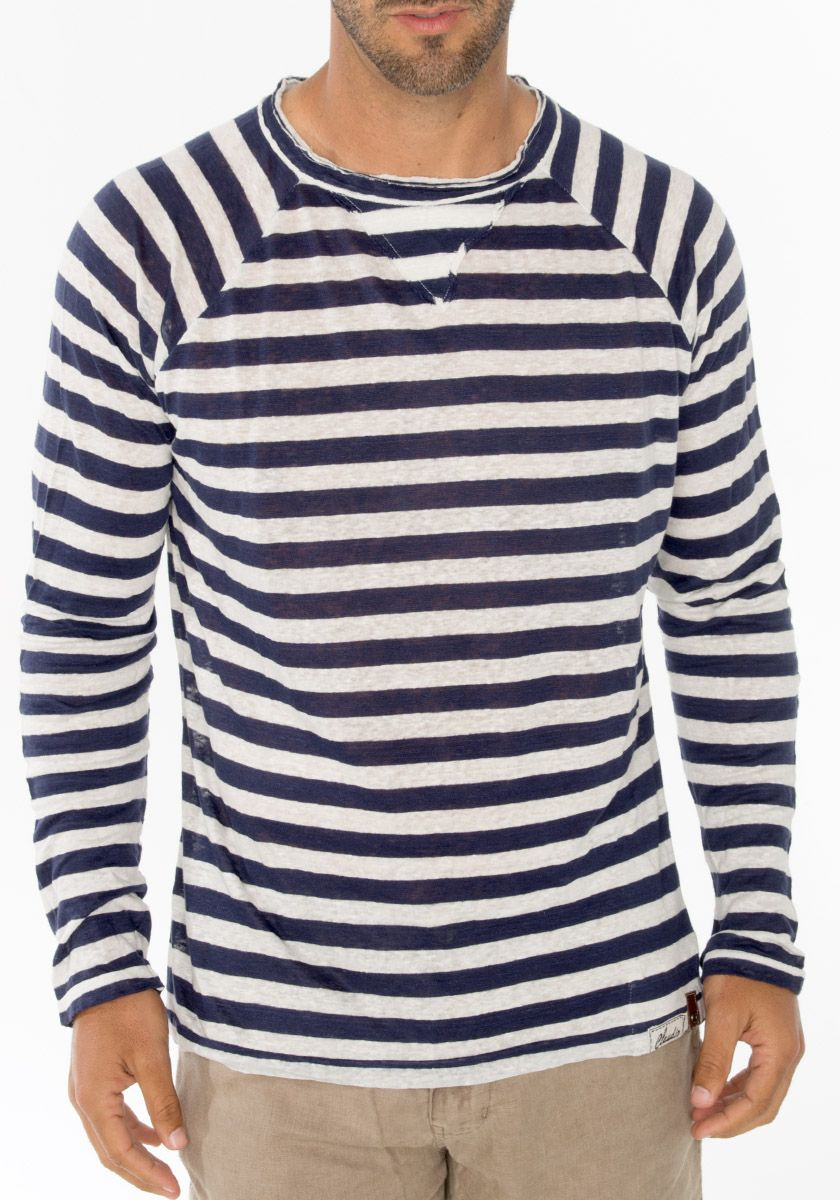 Mens Stripey t-shirt tee Blue Black nautical indie mod Top striped preppy jumper