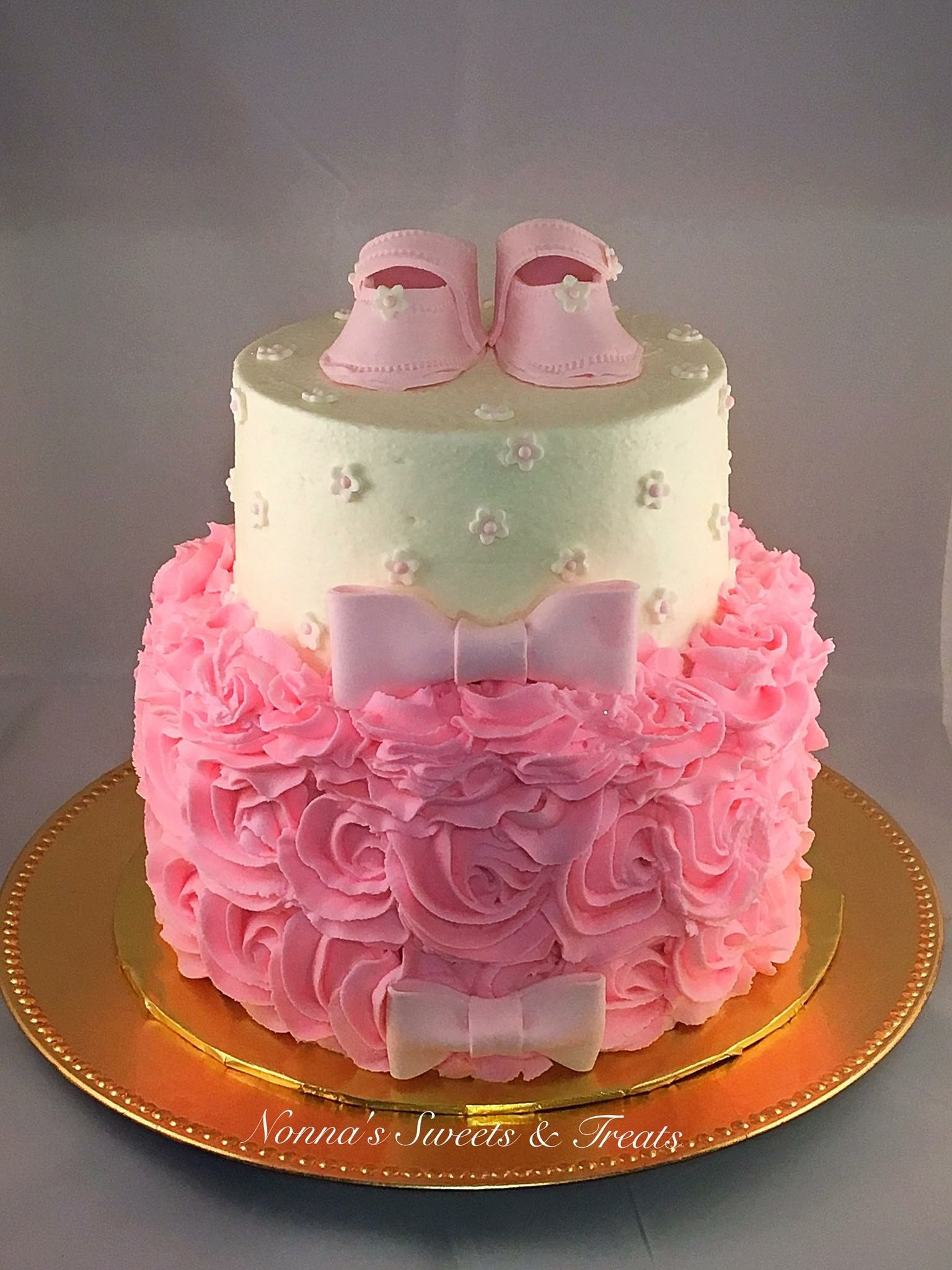 Booties Rosettes Baby Shower Cake Nonnas Sweets Treats
