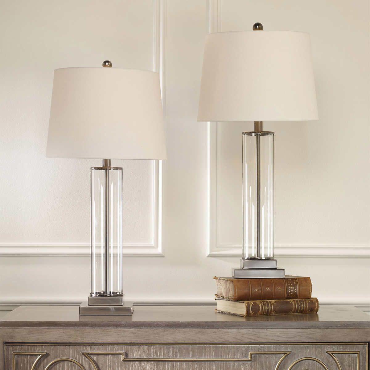 Davidson 29 Glass Table Lamp Nickel Finish 2 Pack Glass Table Lamp Glass Table Apartment Lamps