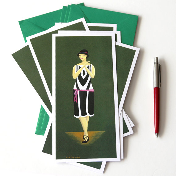 Set Of 5 Cards 20s Fashion Illustrated Greeting Card Great For Lovers Gift Birthday