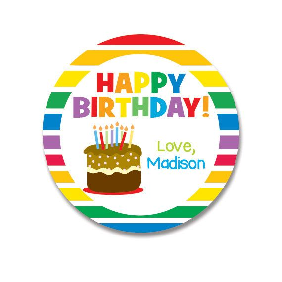 Birthday Gift Stickers Rainbow Cake Fabulous Idea For Kids Gifts