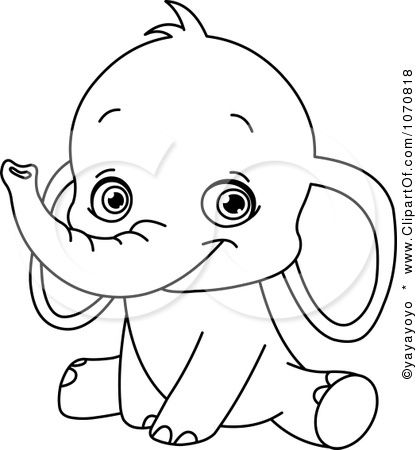 Image detail for Clipart Outlined Sitting Baby Elephant Royalty
