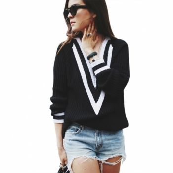 Korean Style Hot Fashion Women V-neck Long Sleeve Crochet Knitwear Pull Over Sweater