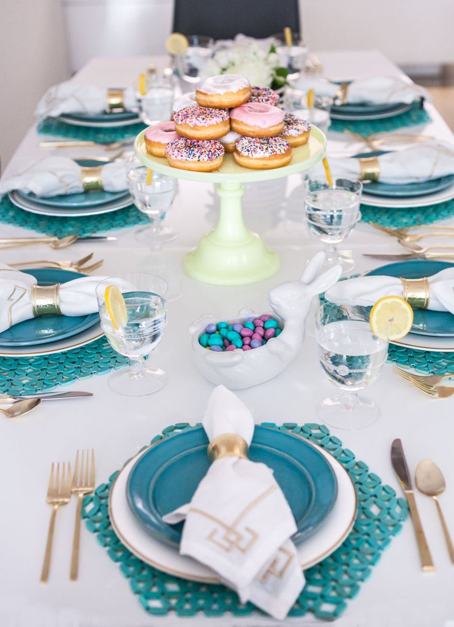Turquoise And White Easter Lunch Table Setting Lunch