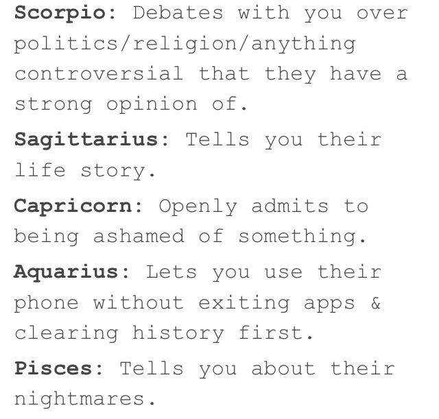 You Know The Signs Trust You When  Part Two  Tumblr Zodiacs